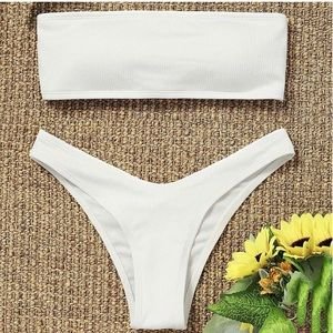 Strapless Bandeau Ribbed White Bikini